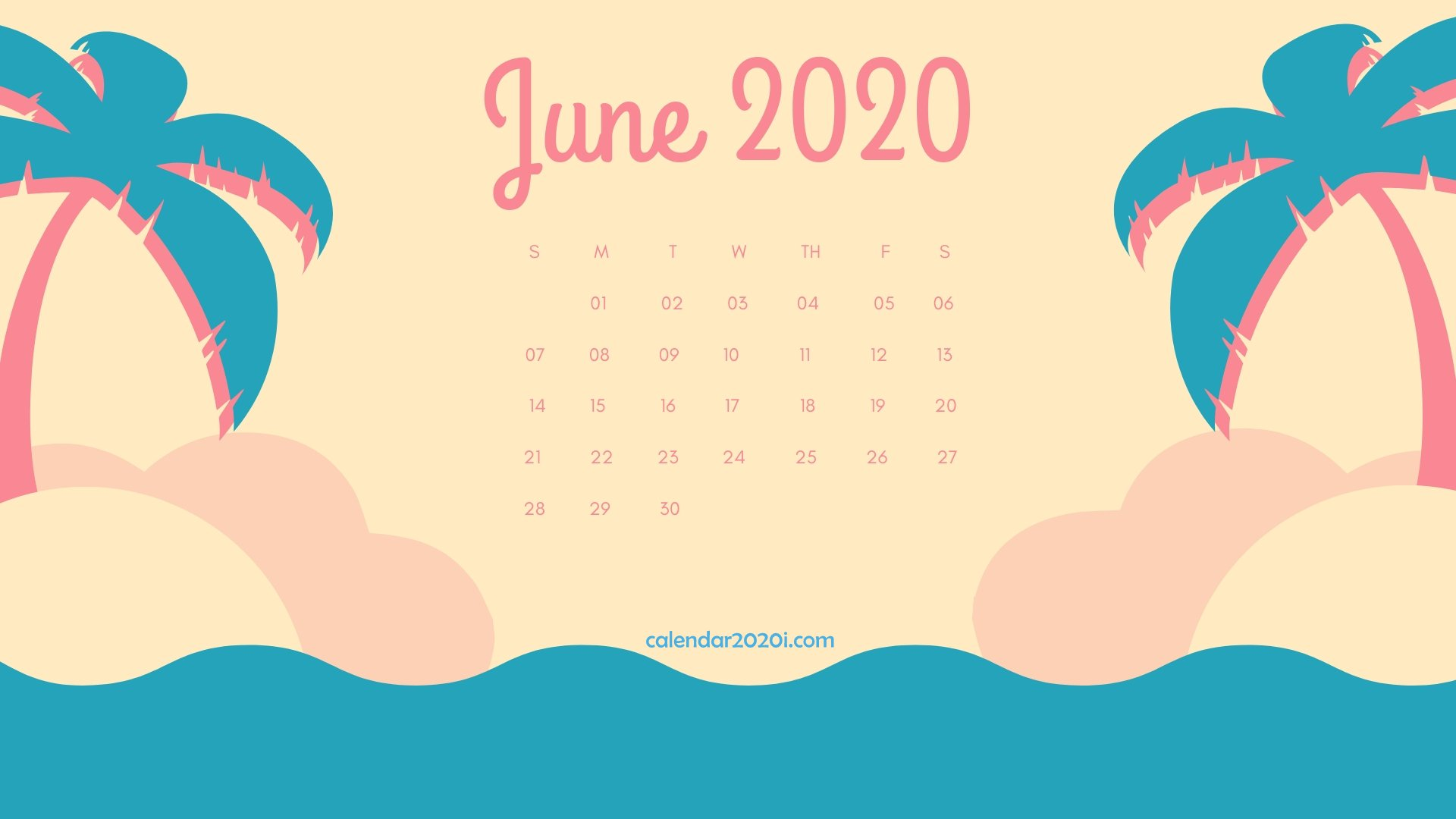 June 2020 Calendar Desktop Wallpaper