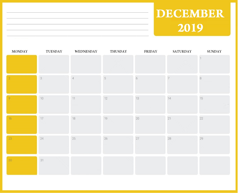 Latest December 2019 Desk Calendar