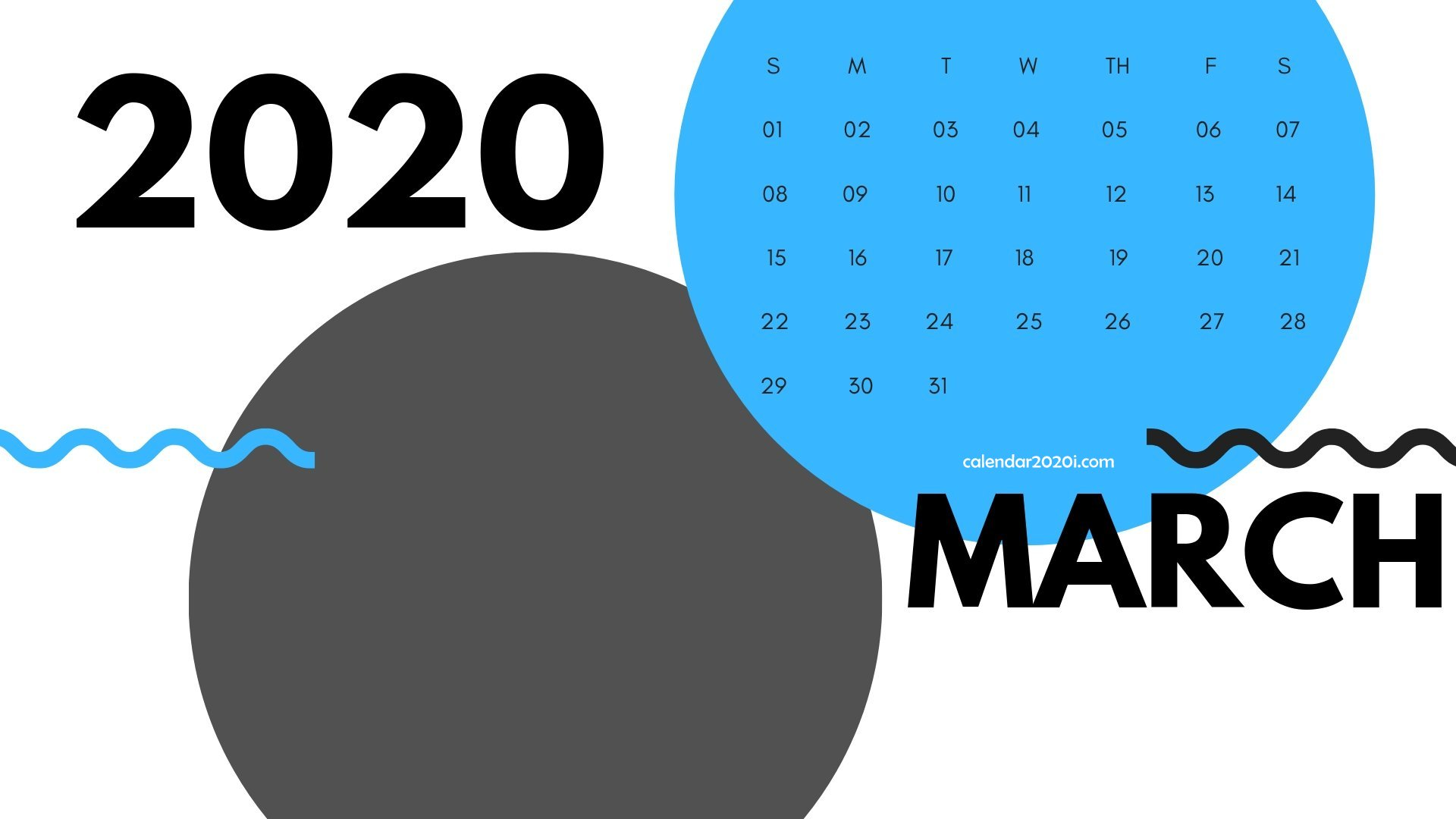 March 2020 Monthly Printable Calendar
