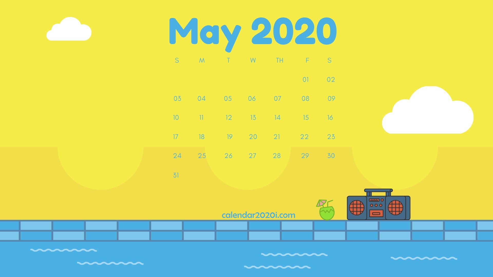 May 2020 Calendar Desktop Wallpaper