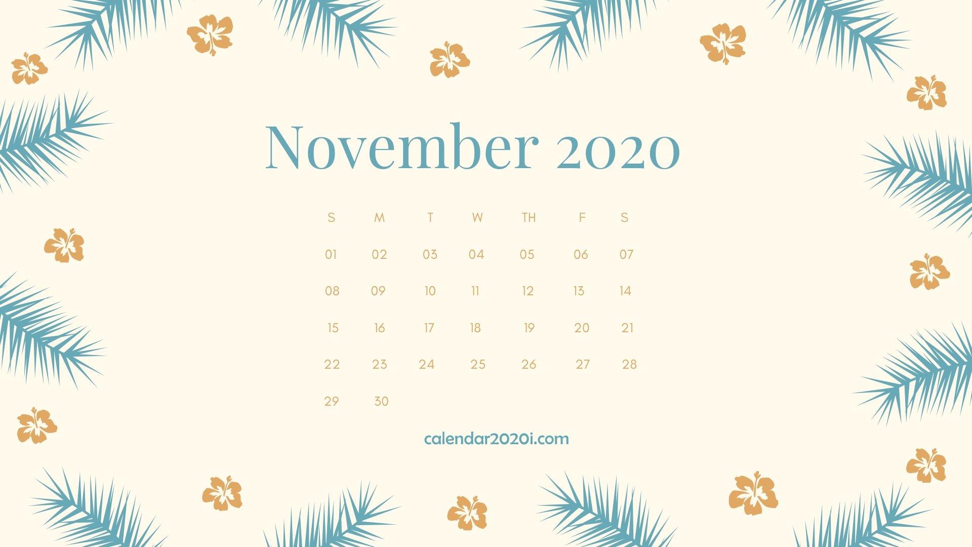 November 2020 Calendar Desktop Wallpaper