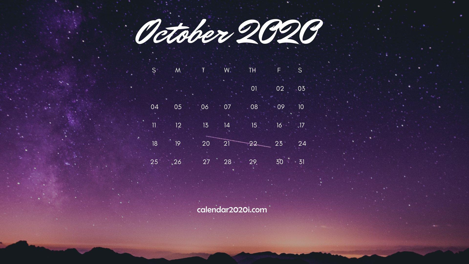 October 2020 Calendar Desktop Wallpaper