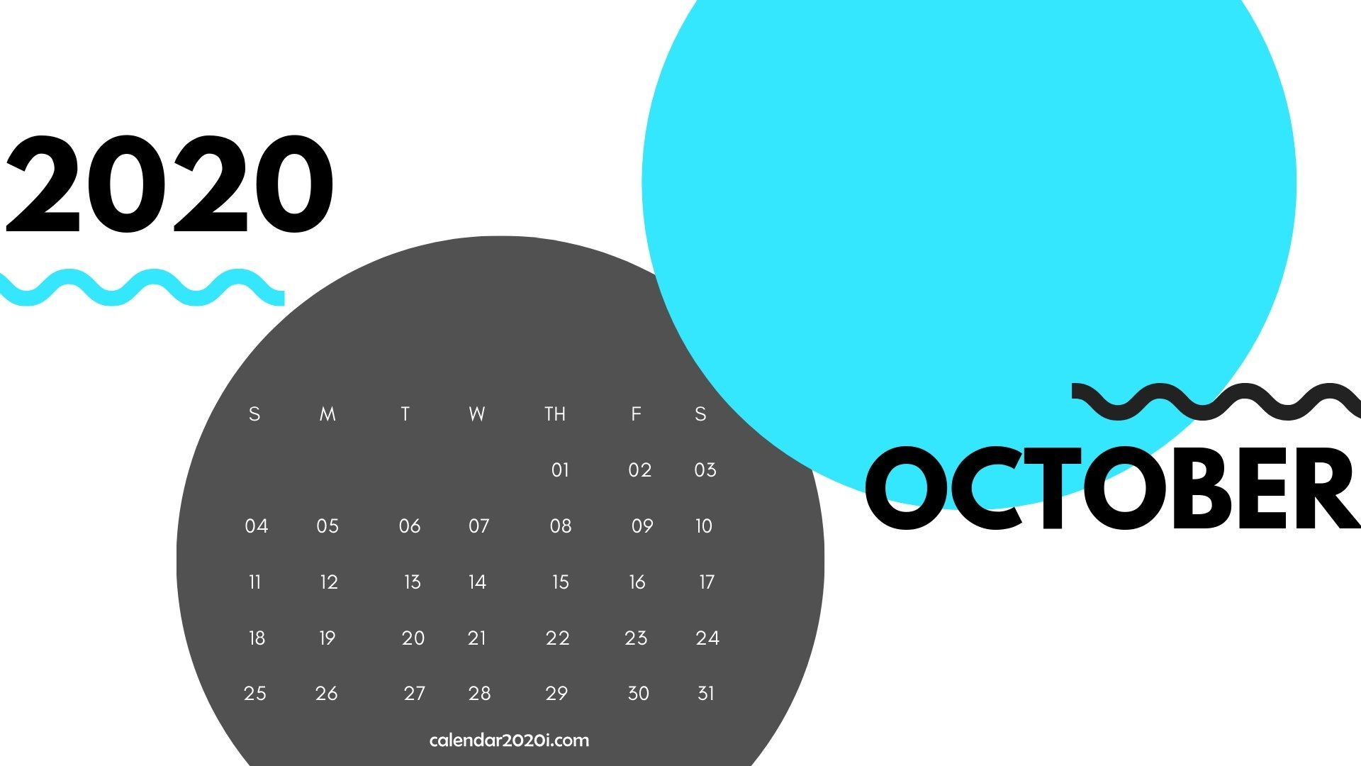 October 2020 Monthly Printable Calendar