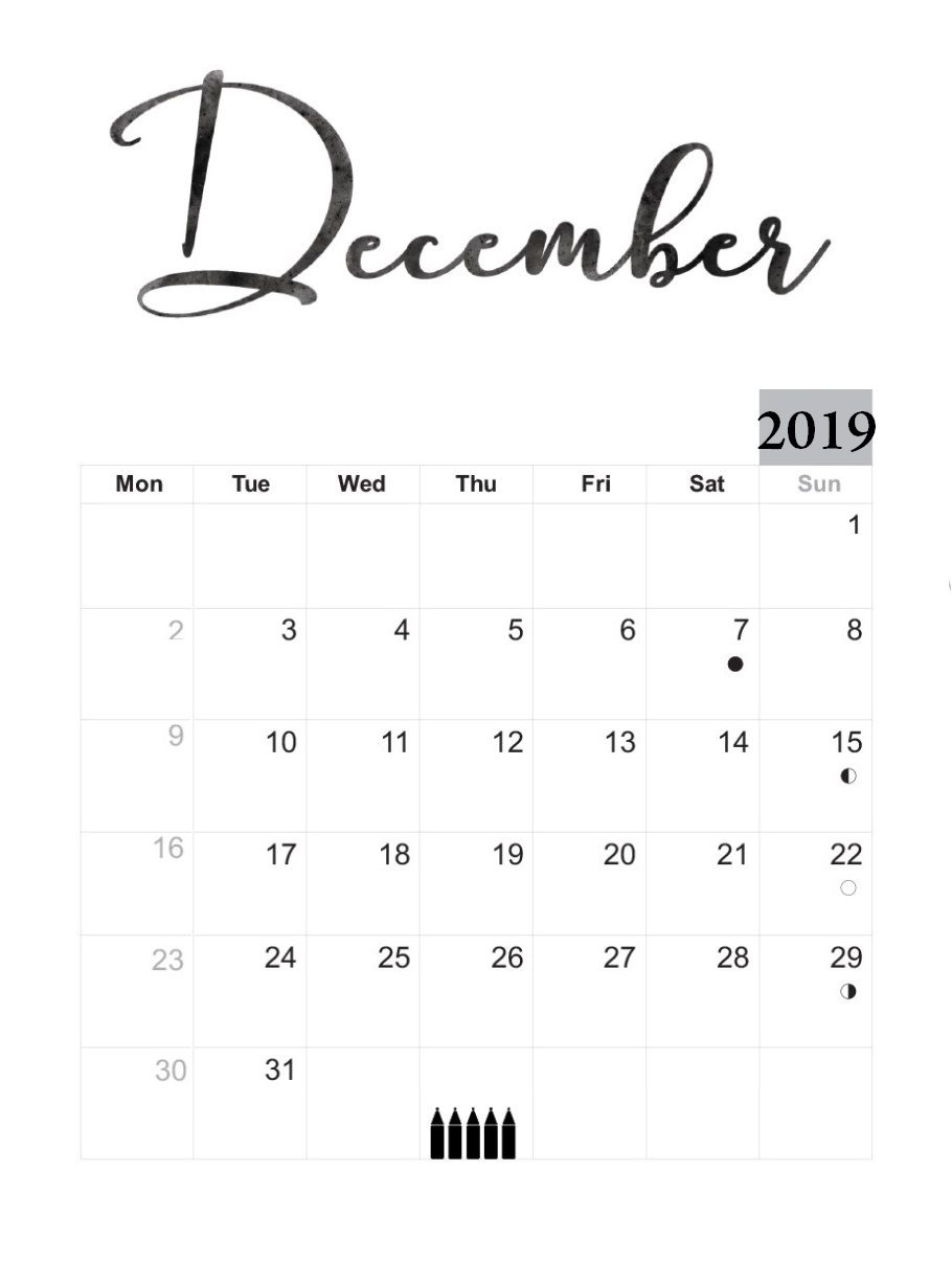 Personalized December 2019 Template