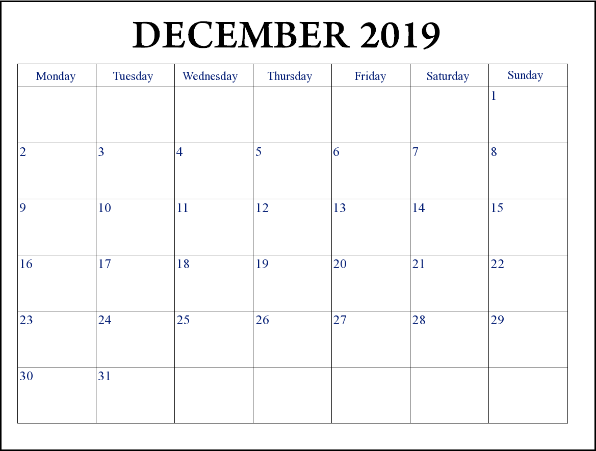Print December 2019 Editable Calendar