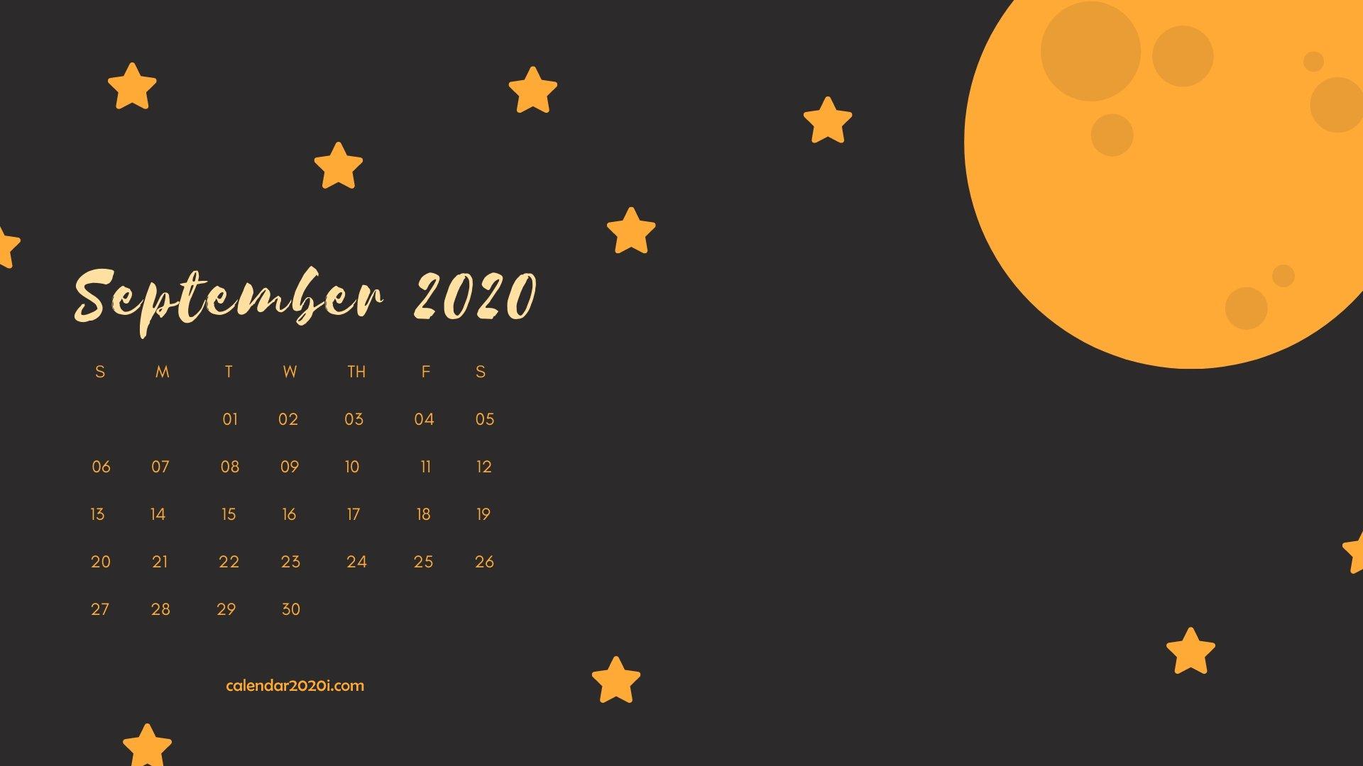 September 2020 Calendar Desktop Wallpaper