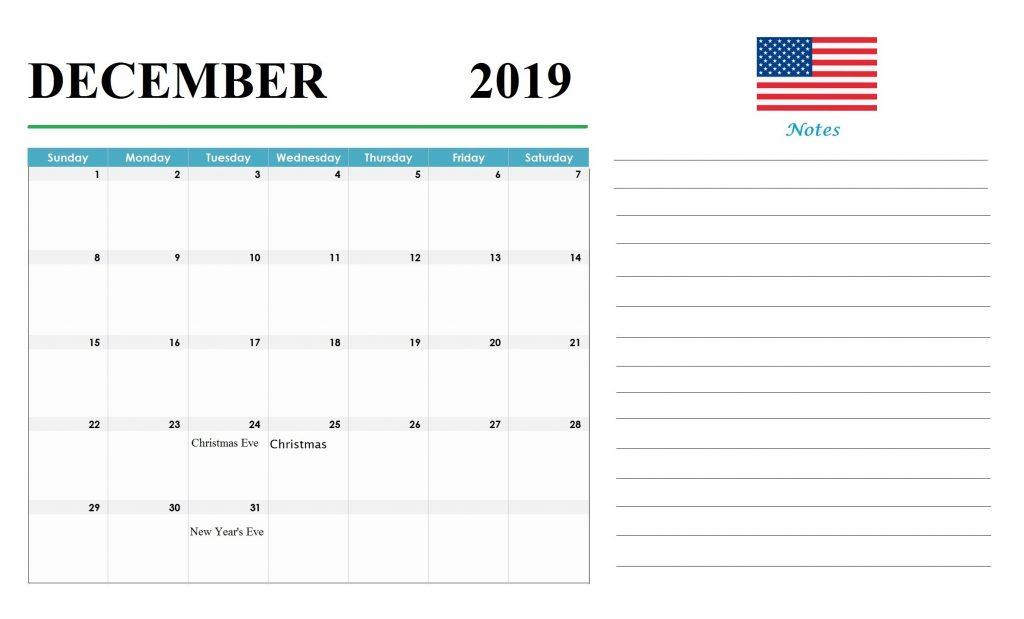 USA December 2019 Holidays Calendar