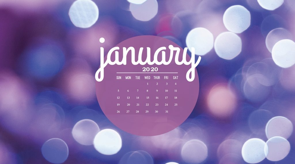 January 2020 Calendar Screensaver