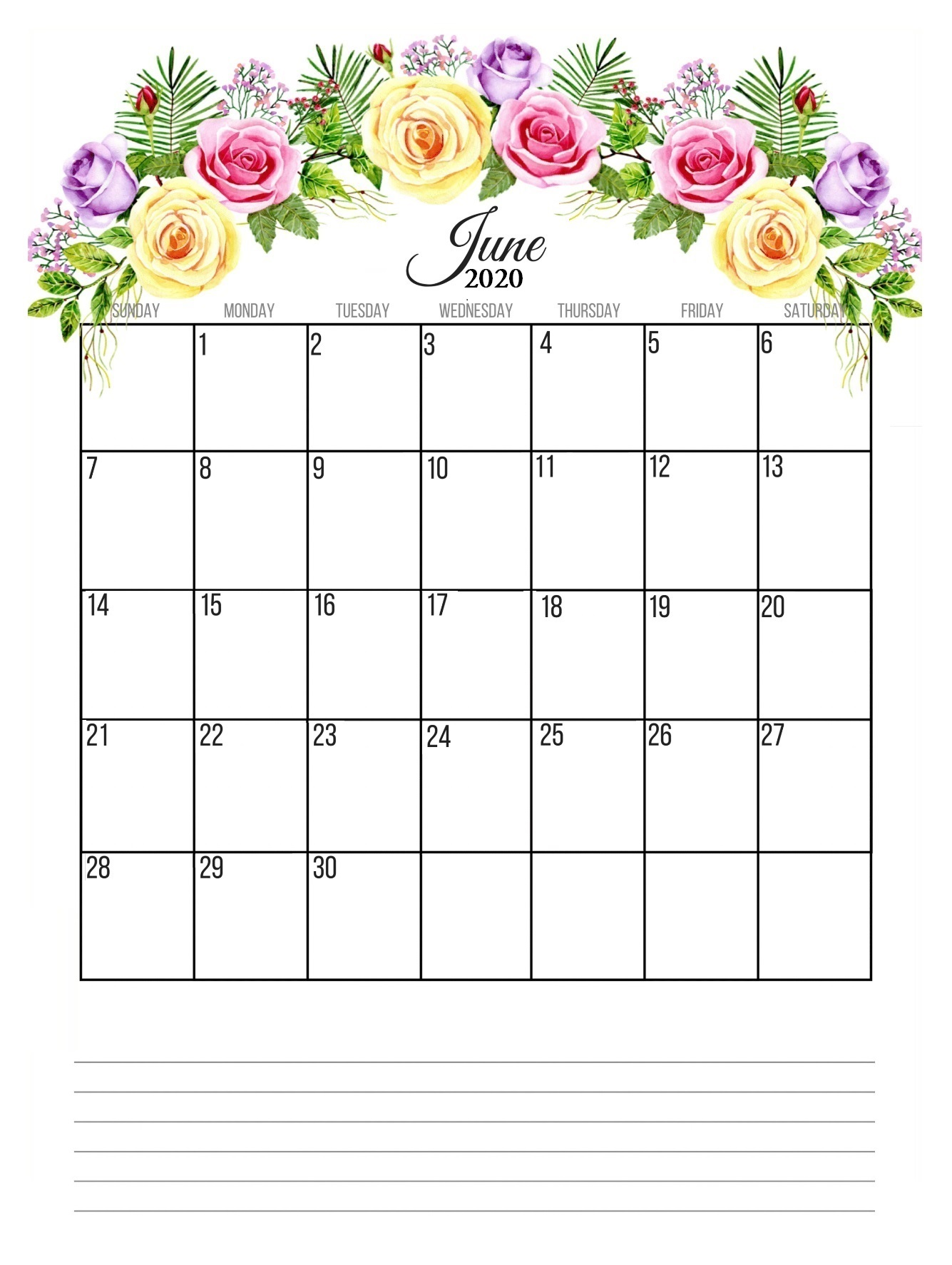 June 2020 Floral Calendar