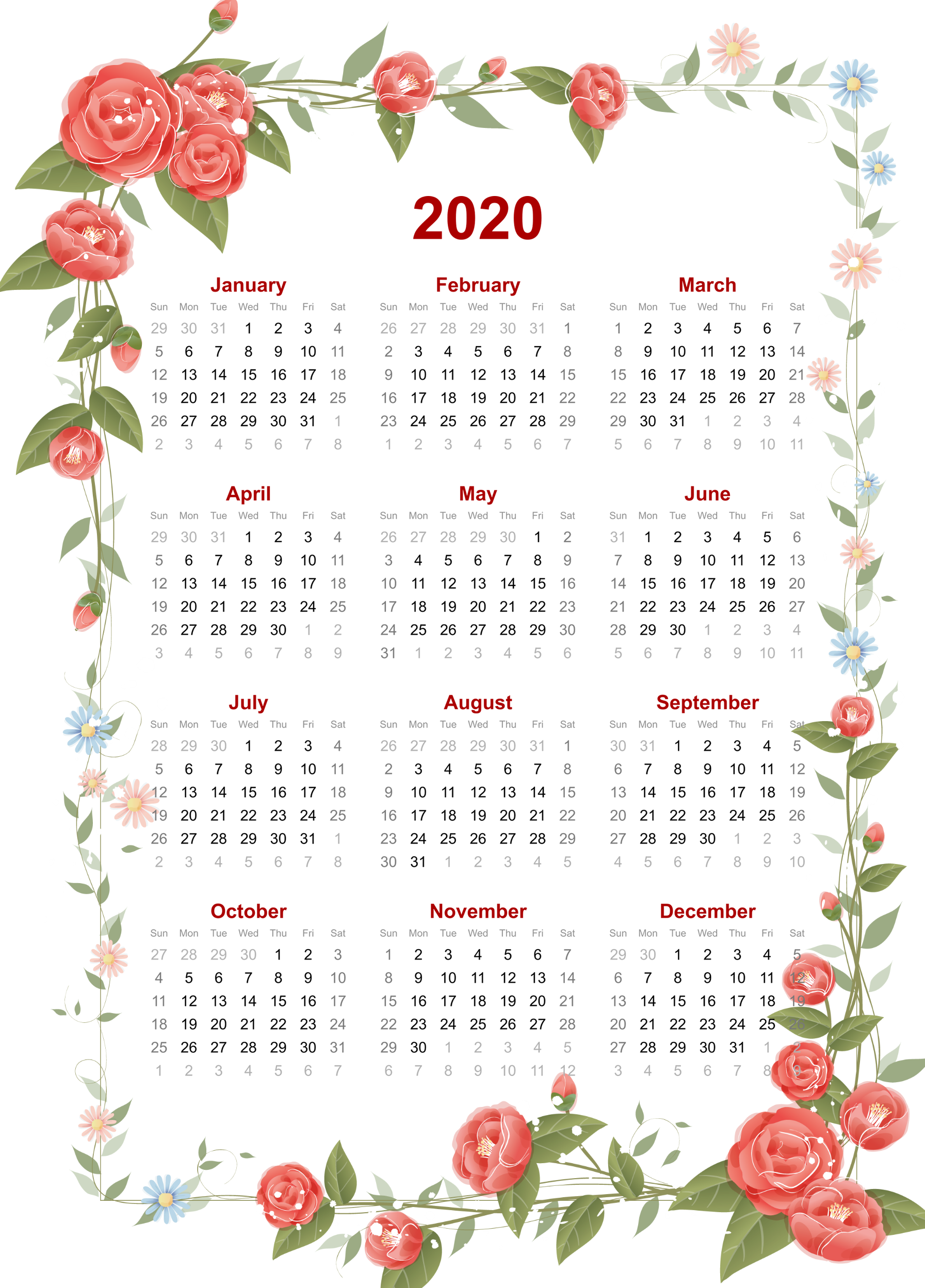 Yearly 2020 Floral Calendar