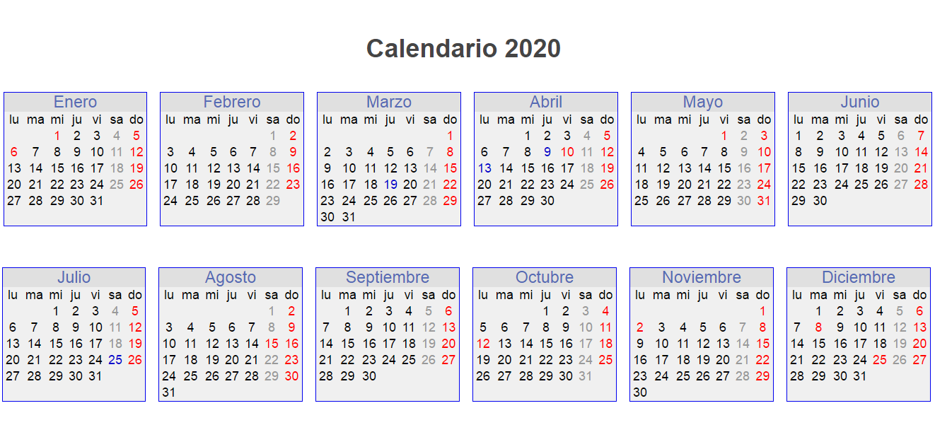 2020 Calendar in Spanish Language