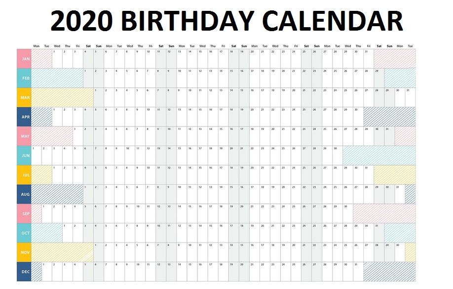 2020 Family Birthday Calendar