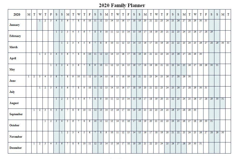 2020 Family Planner Calendar Printable