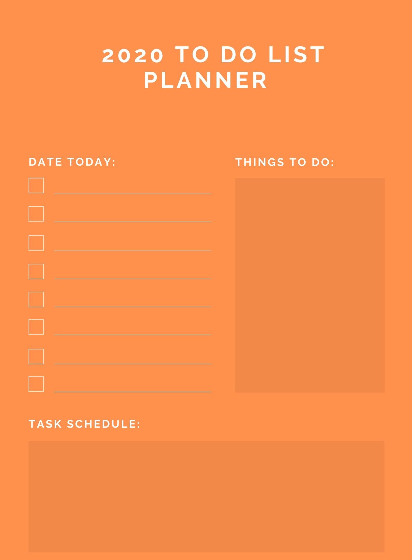 2020 To Do List Family Planner