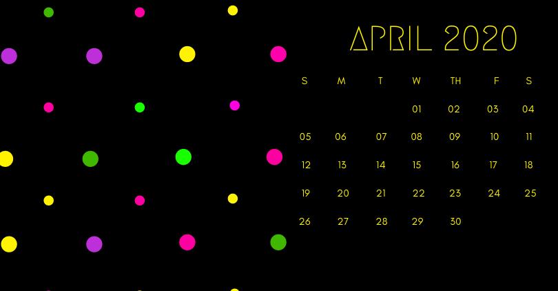 April 2020 Office Desk Calendar Printable