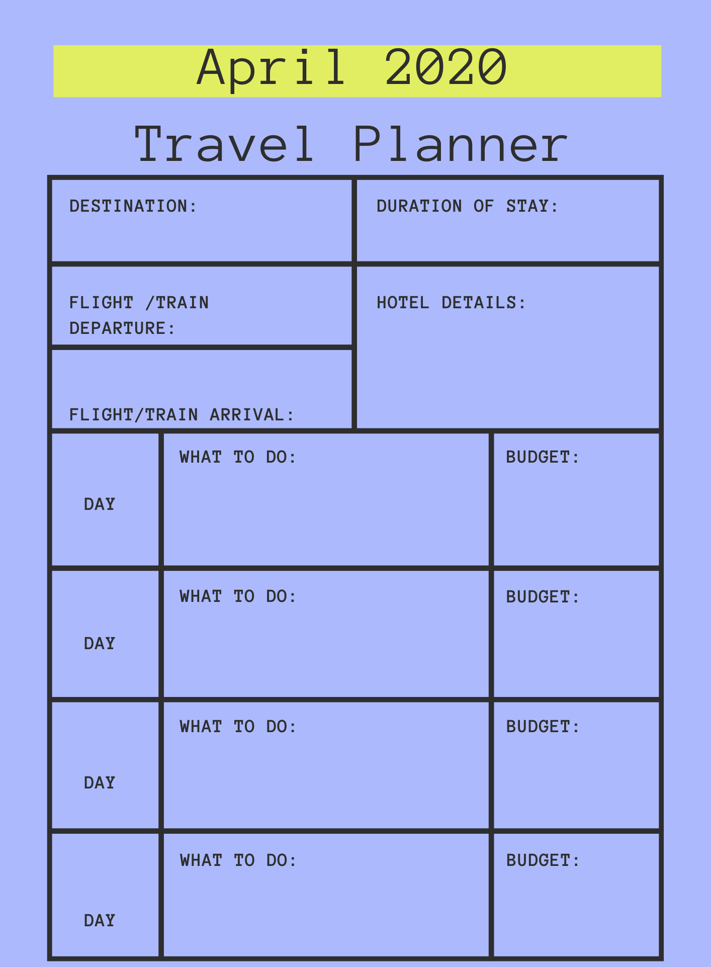 April 2020 Printable Travel Planner