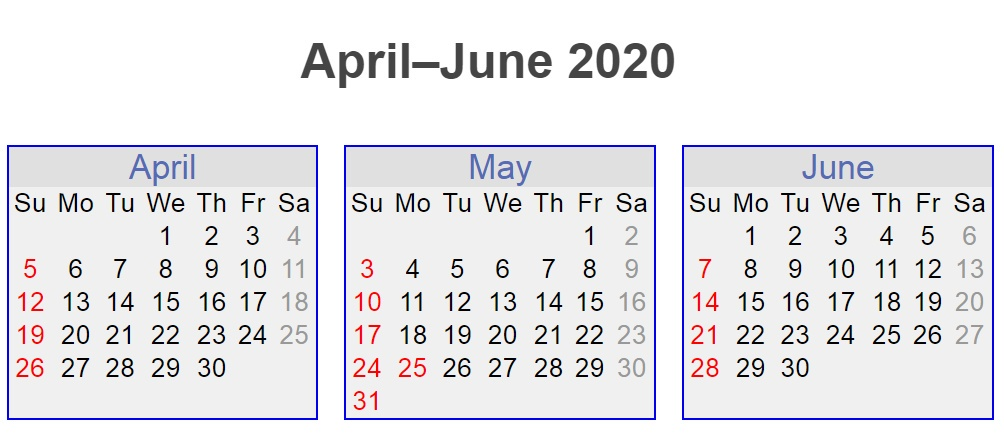 April May June 2020 3 Months Calendar