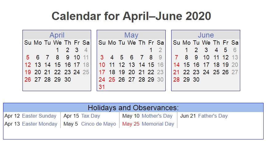 April May June 2020 Holidays Printable Calendar