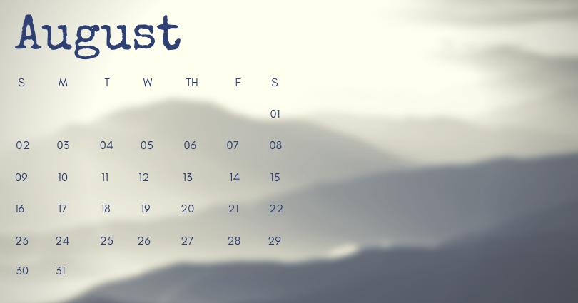 August 2020 Office Desk Calendar Printable