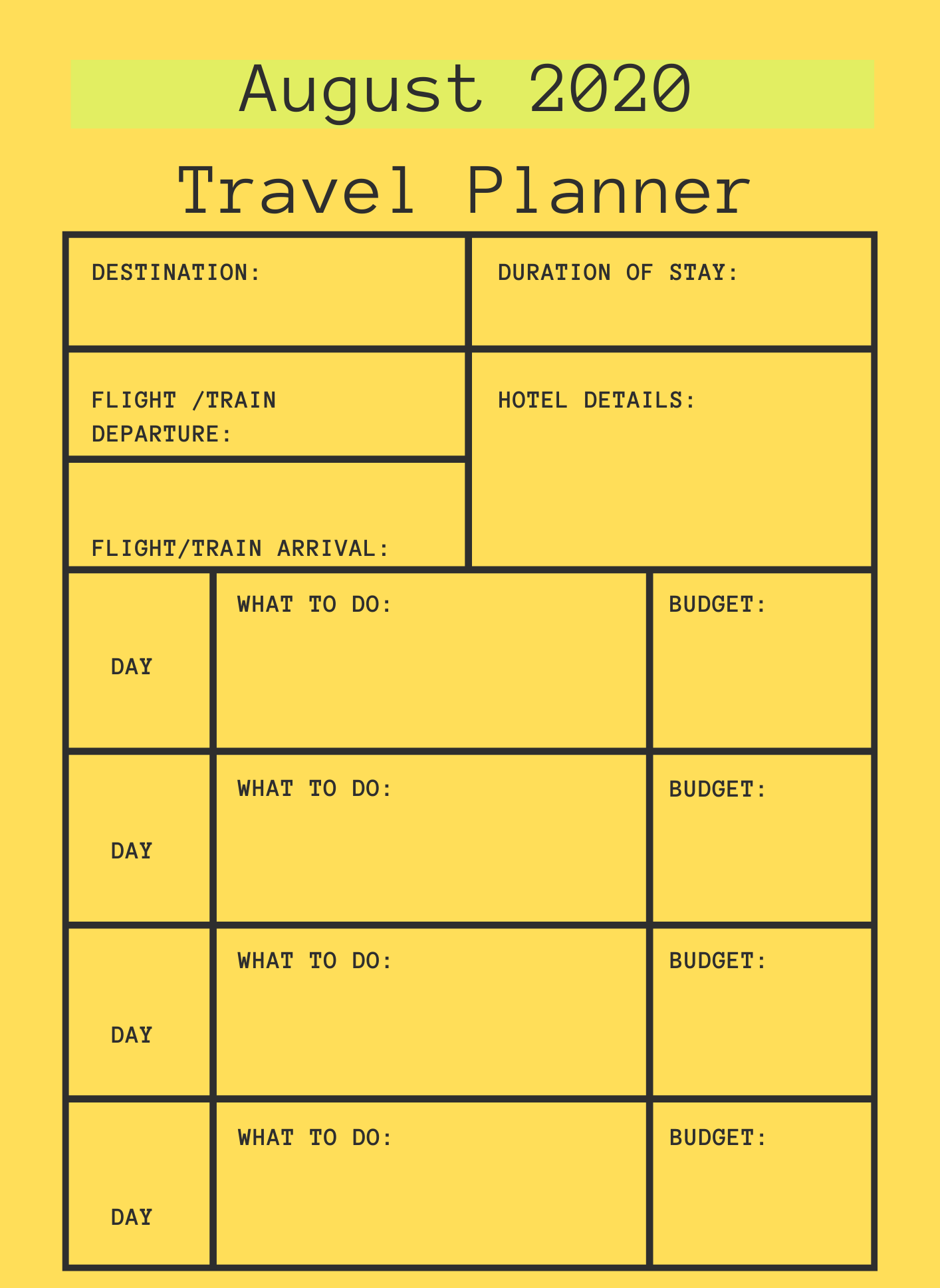 August 2020 Printable Travel Planner
