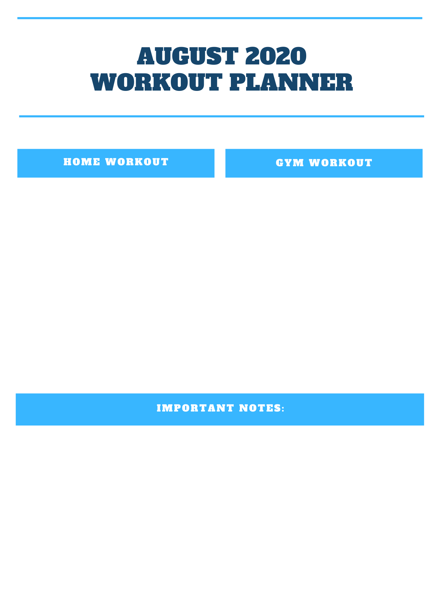 August 2020 Workout Planner