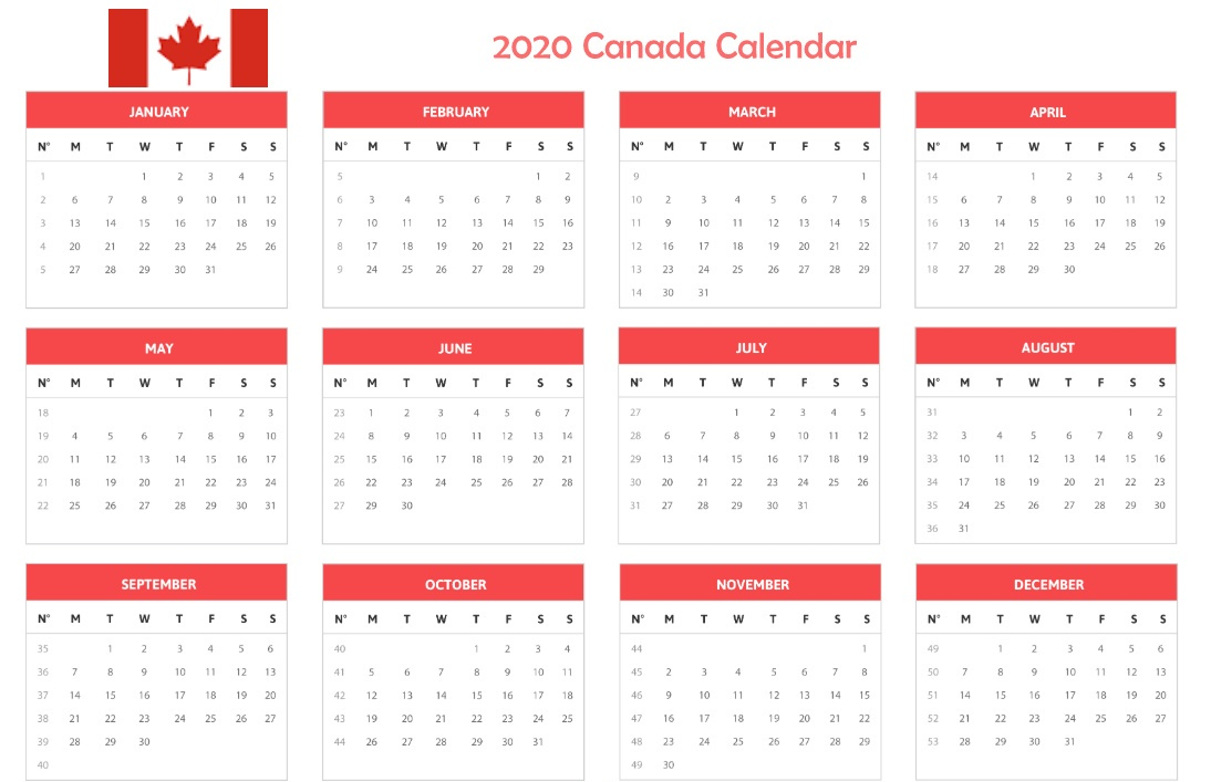 Canada 2020 One Page Calendar
