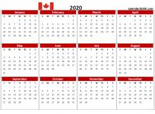 Canada 2020 PDF Calendar Printable