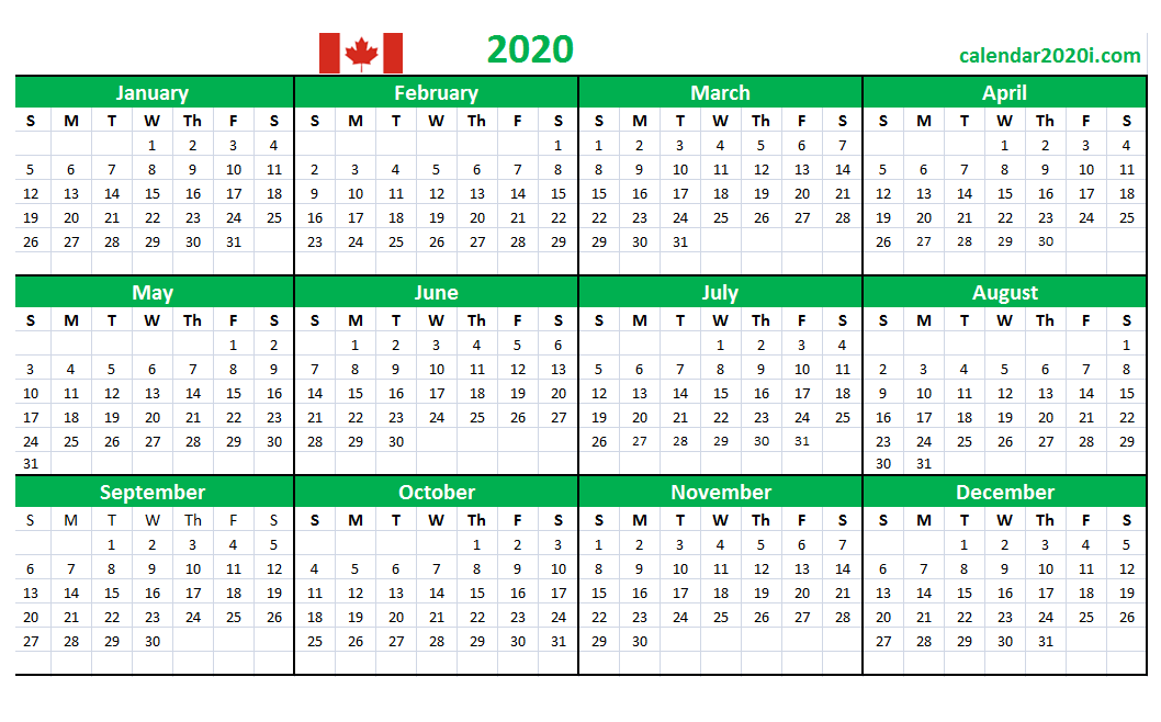 Canada 2020 Yearly Calendar Printable