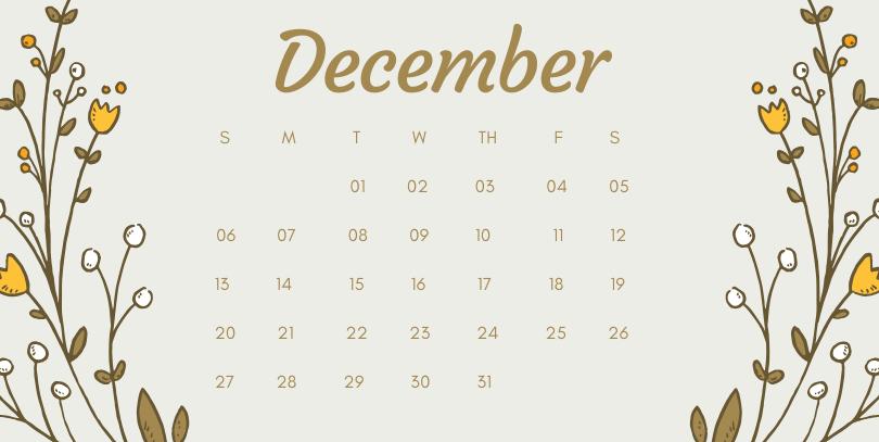December 2020 Office Desk Calendar Printable