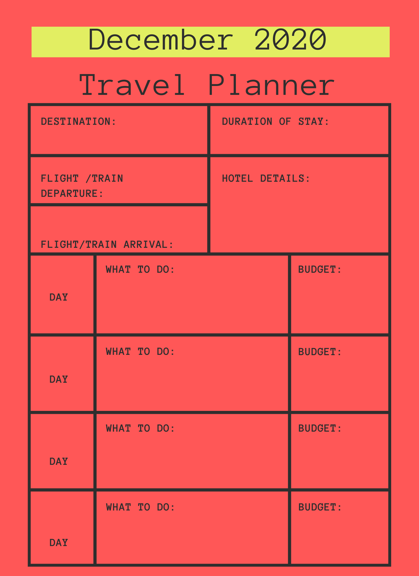 December 2020 Printable Travel Planner