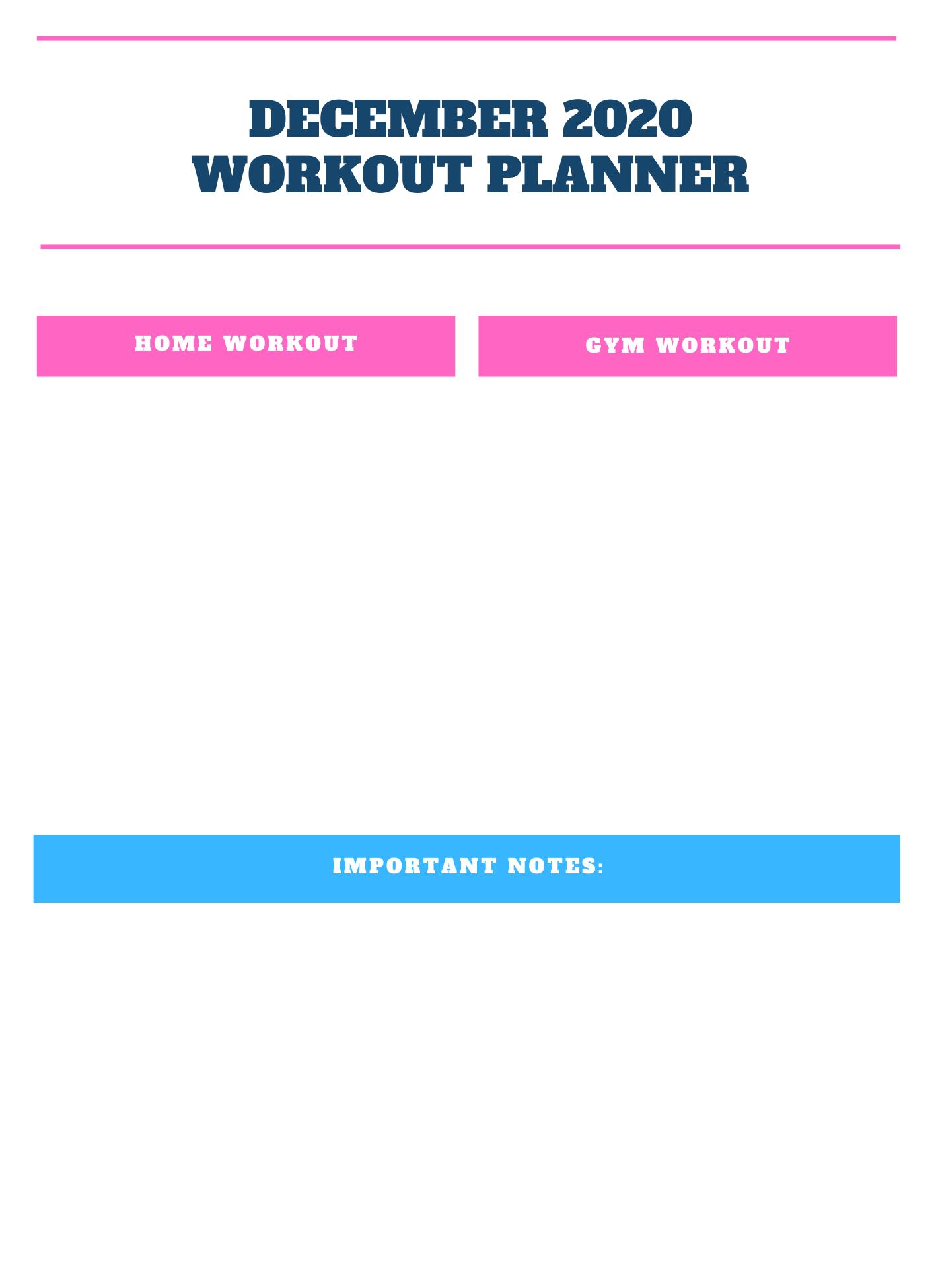 December 2020 Workout Planner