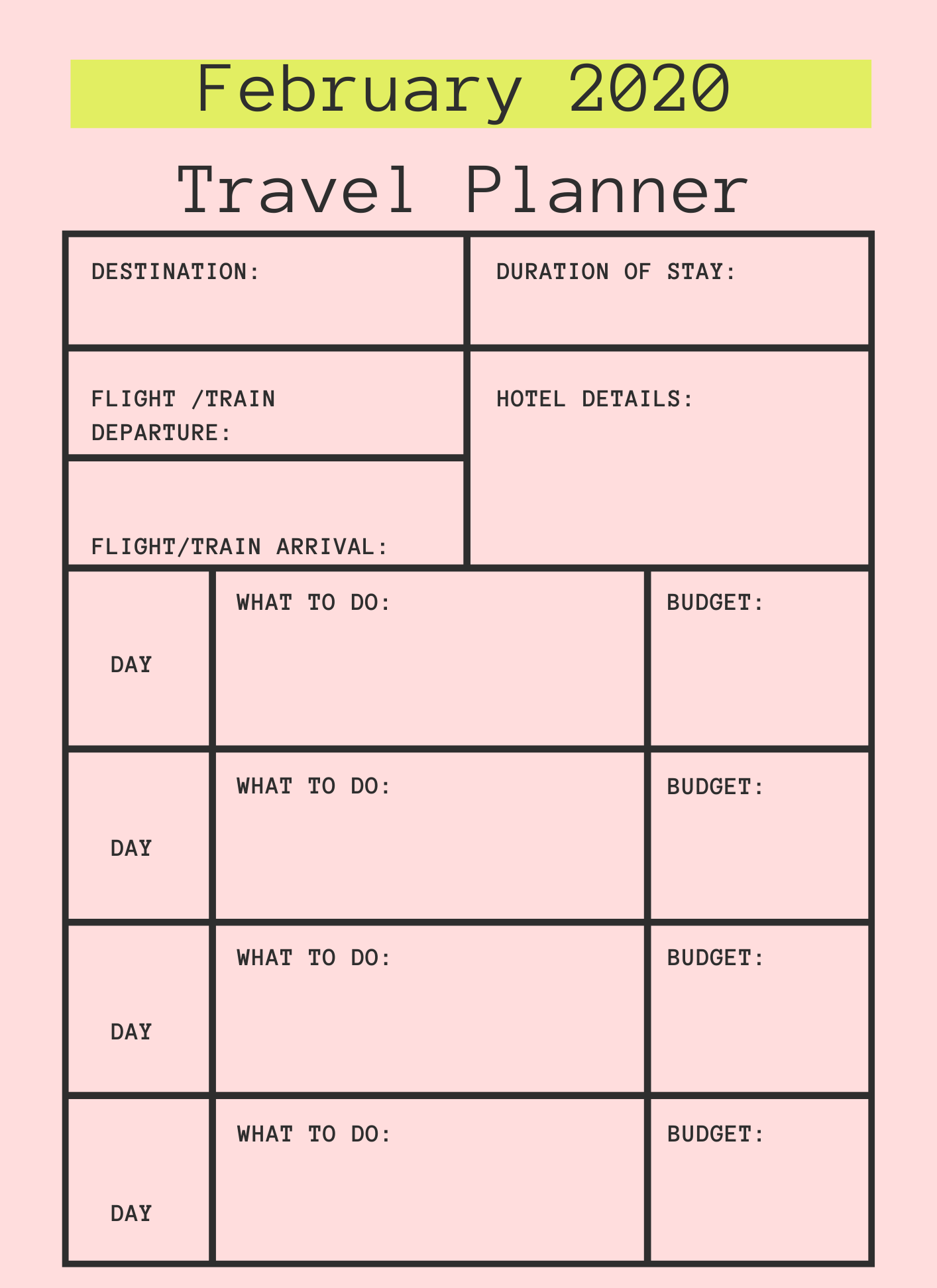 February 2020 Printable Travel Planner
