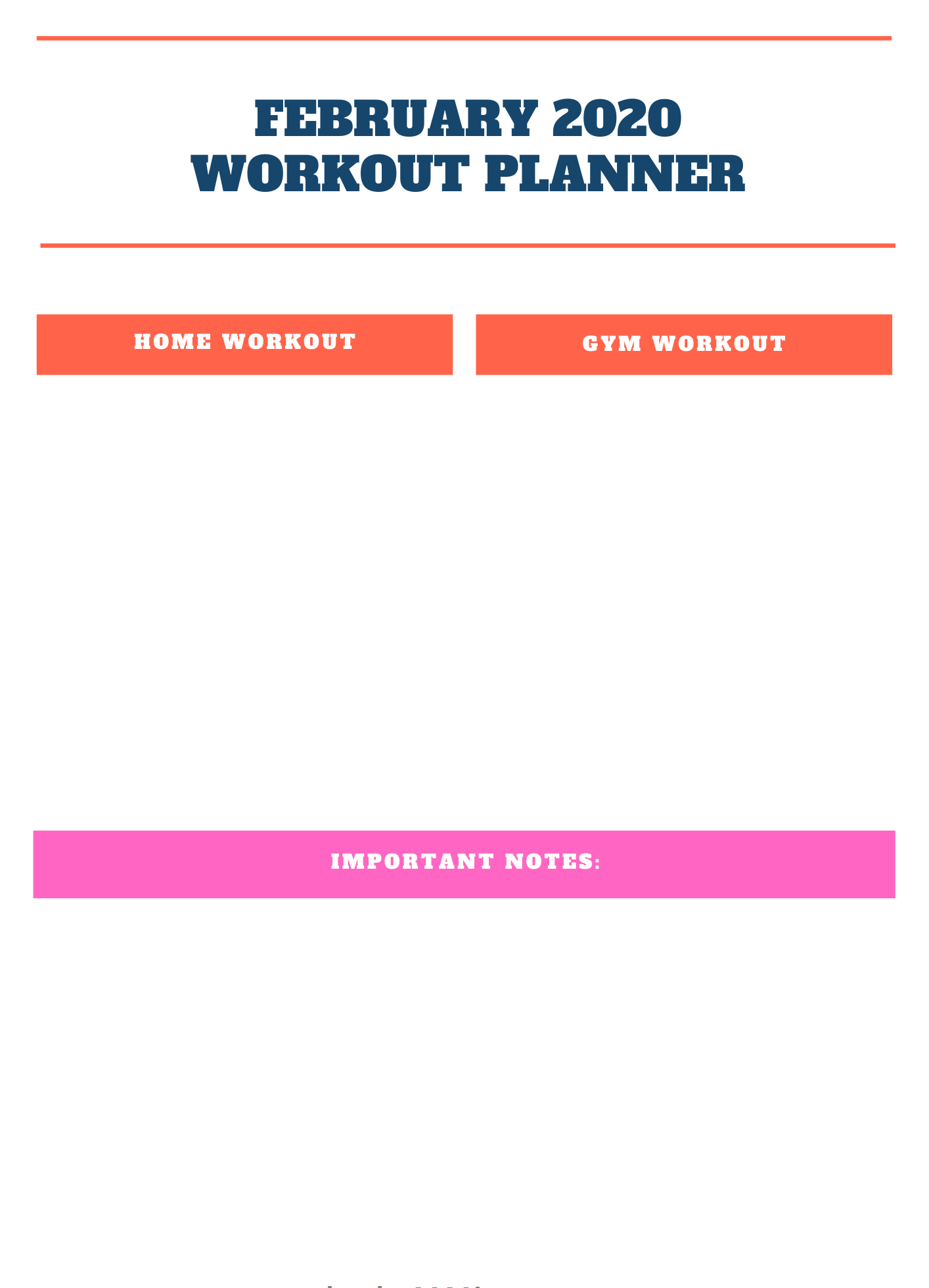 February 2020 Workout Planner