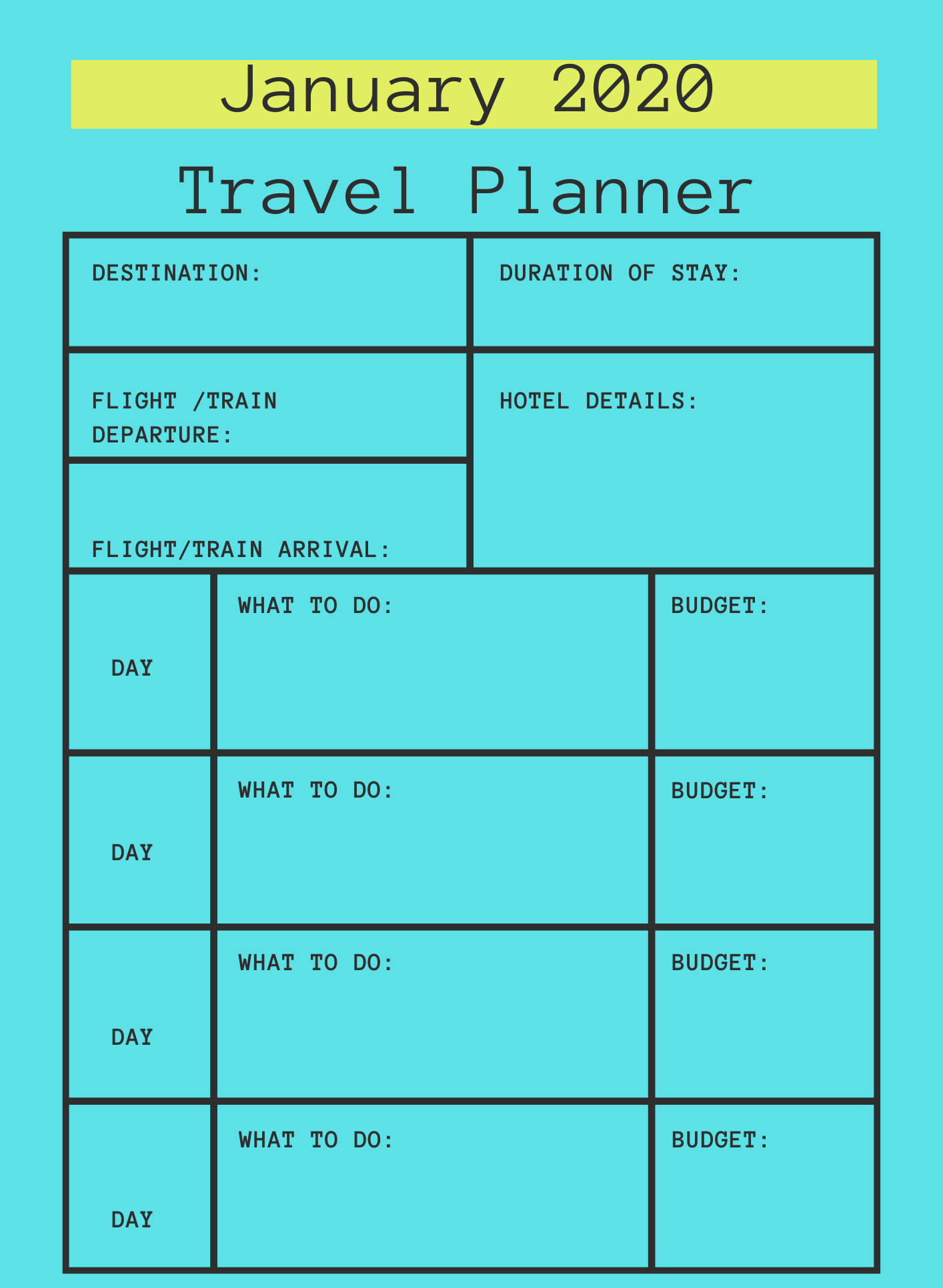 January 2020 Printable Travel Planner