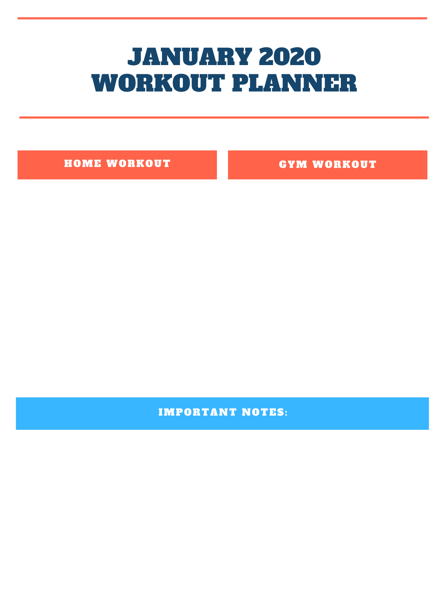 January 2020 Workout Planner