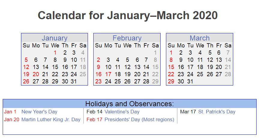 January February March 2020 Holidays Printable Calendar