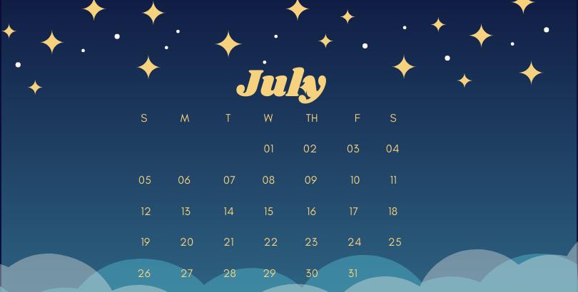 July 2020 Office Desk Calendar Printable