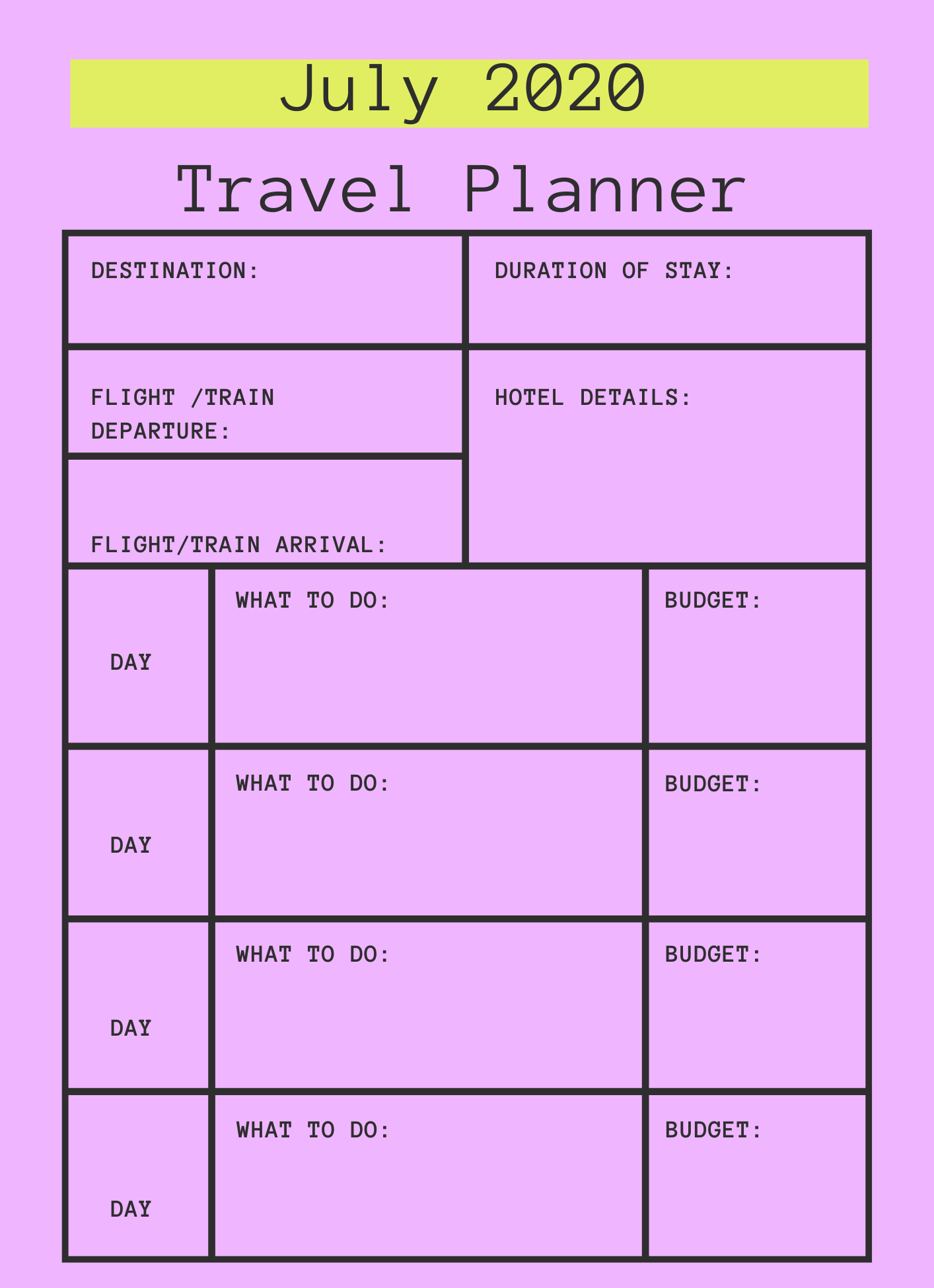 July 2020 Printable Travel Planner