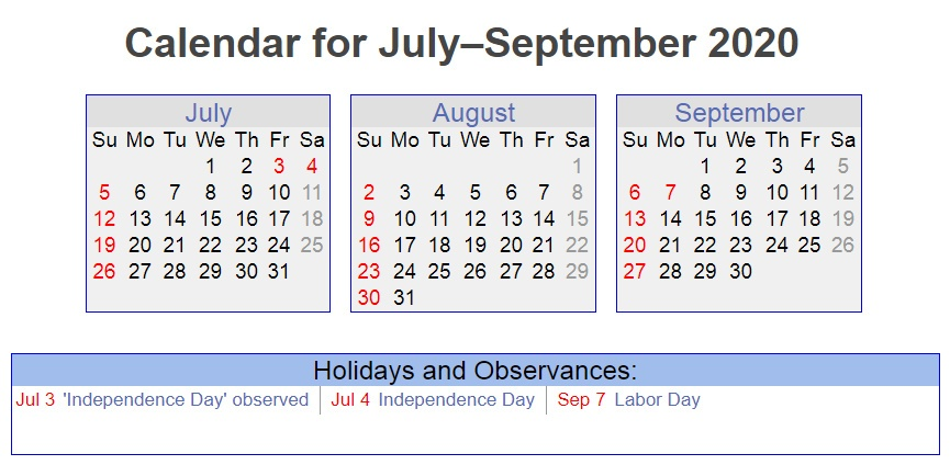 July August September 2020 Holidays Printable Calendar