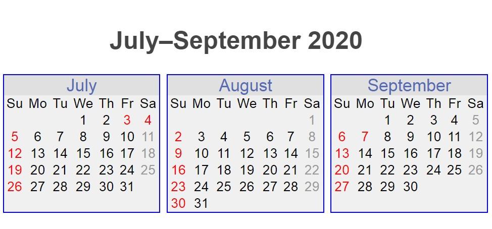 July August September 3 Months 2020 Calendar