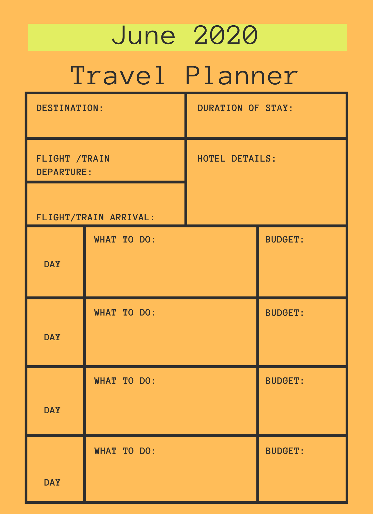 June 2020 Printable Travel Planner
