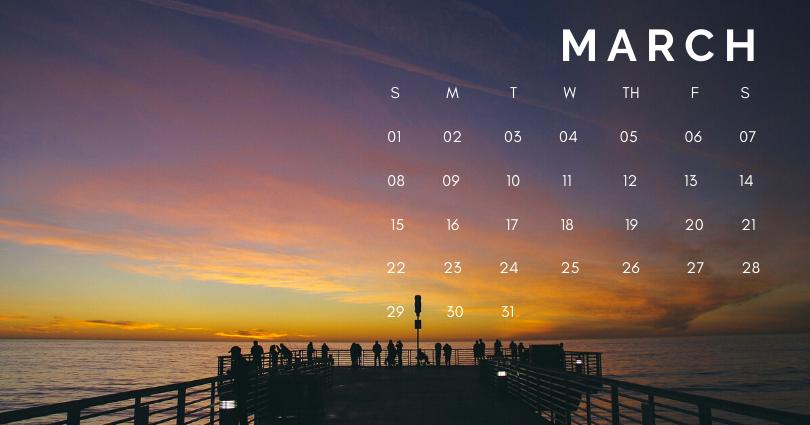 March 2020 Office Desk Calendar Printable