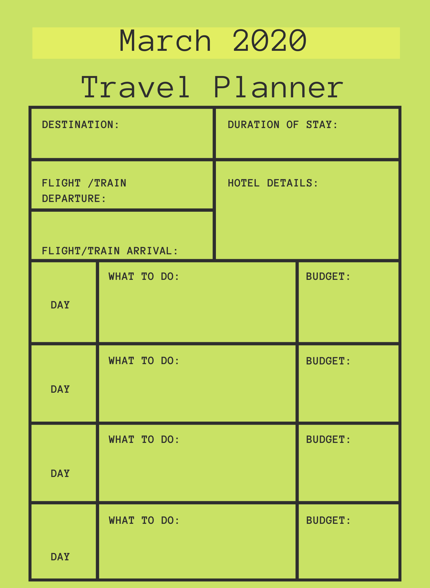 March 2020 Printable Travel Planner