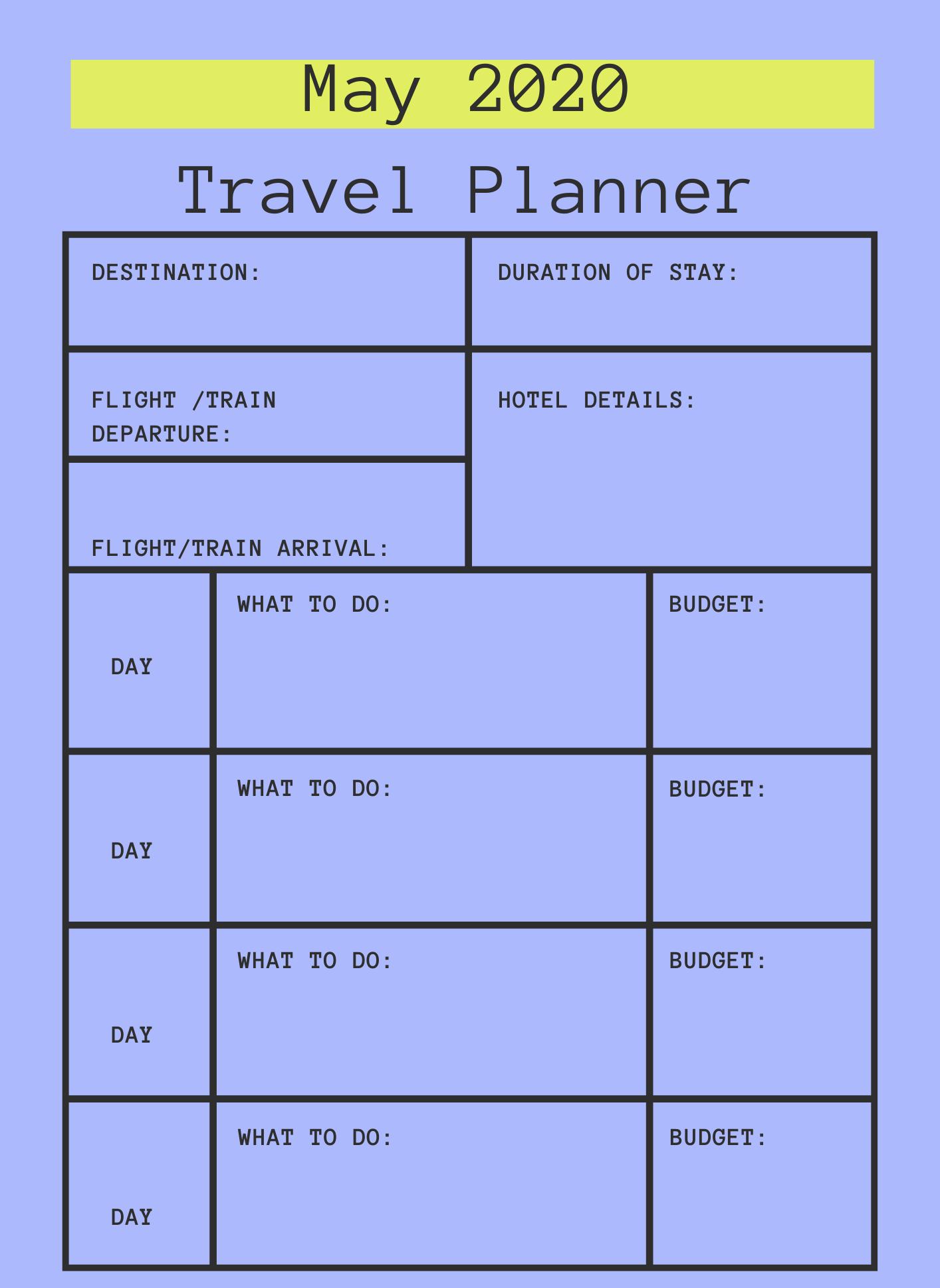 May 2020 Printable Travel Planner
