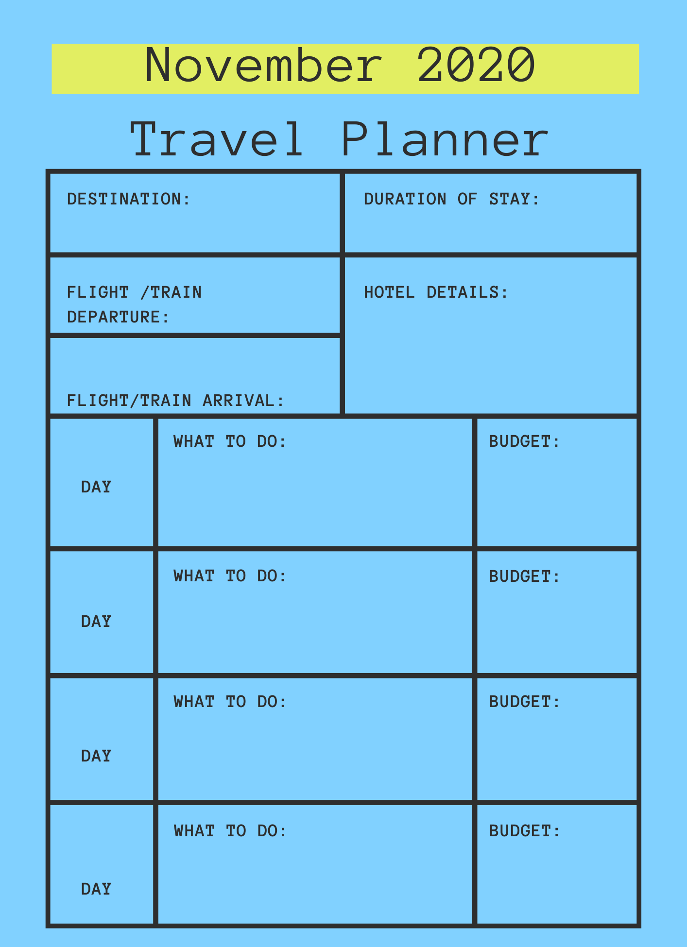 November 2020 Printable Travel Planner