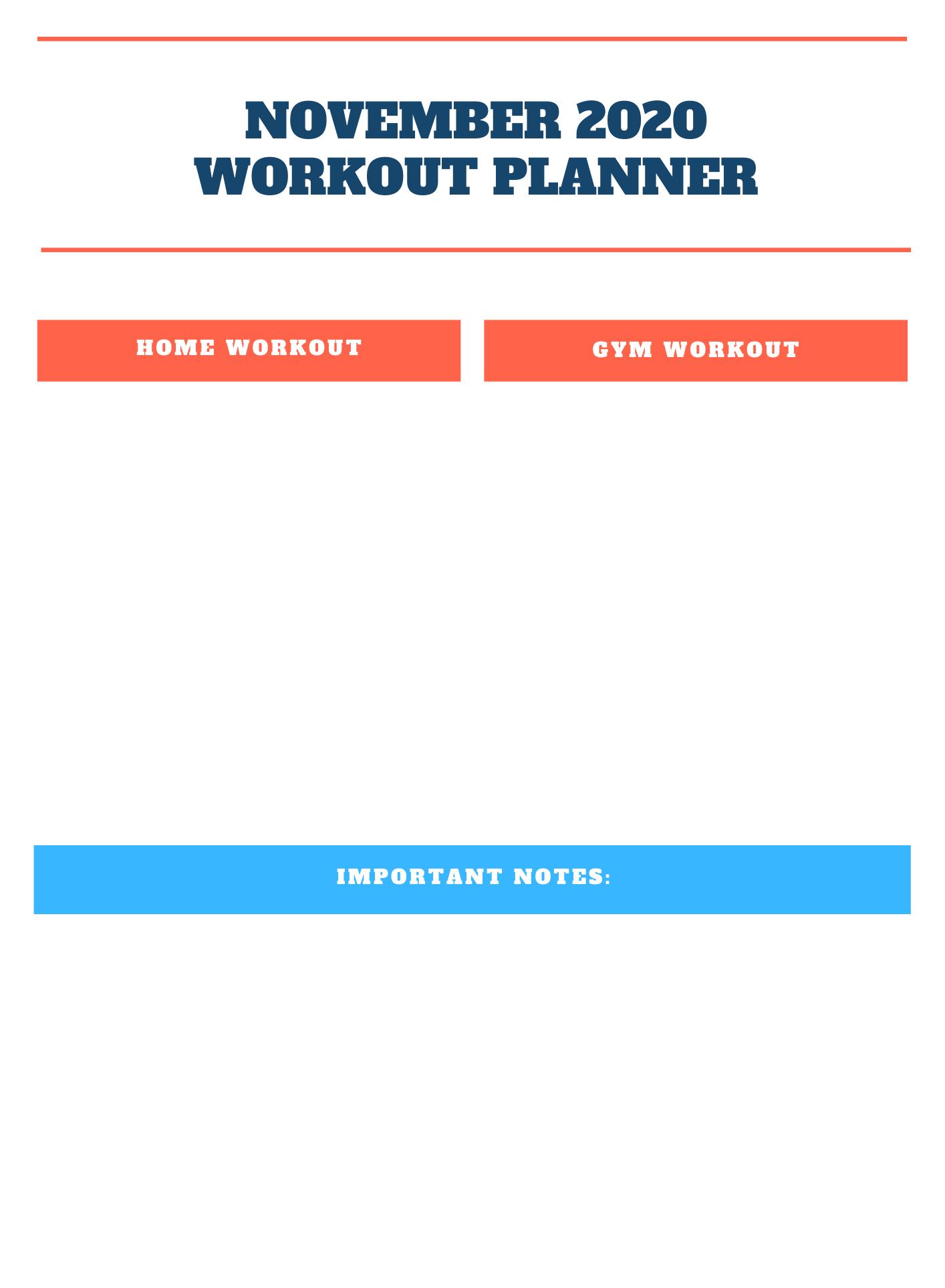 November 2020 Workout Planner