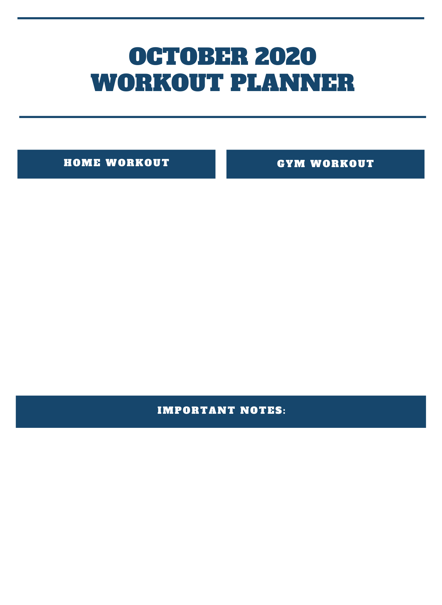 October 2020 Workout Planner