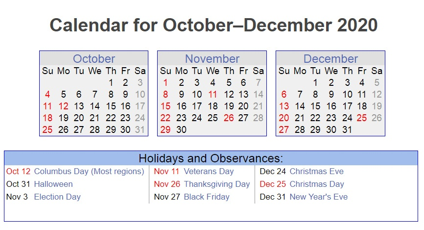 October November December 2020 Holidays Printable Calendar