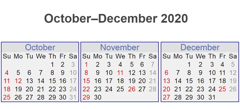 October November December 3 Months 2020 Calendar