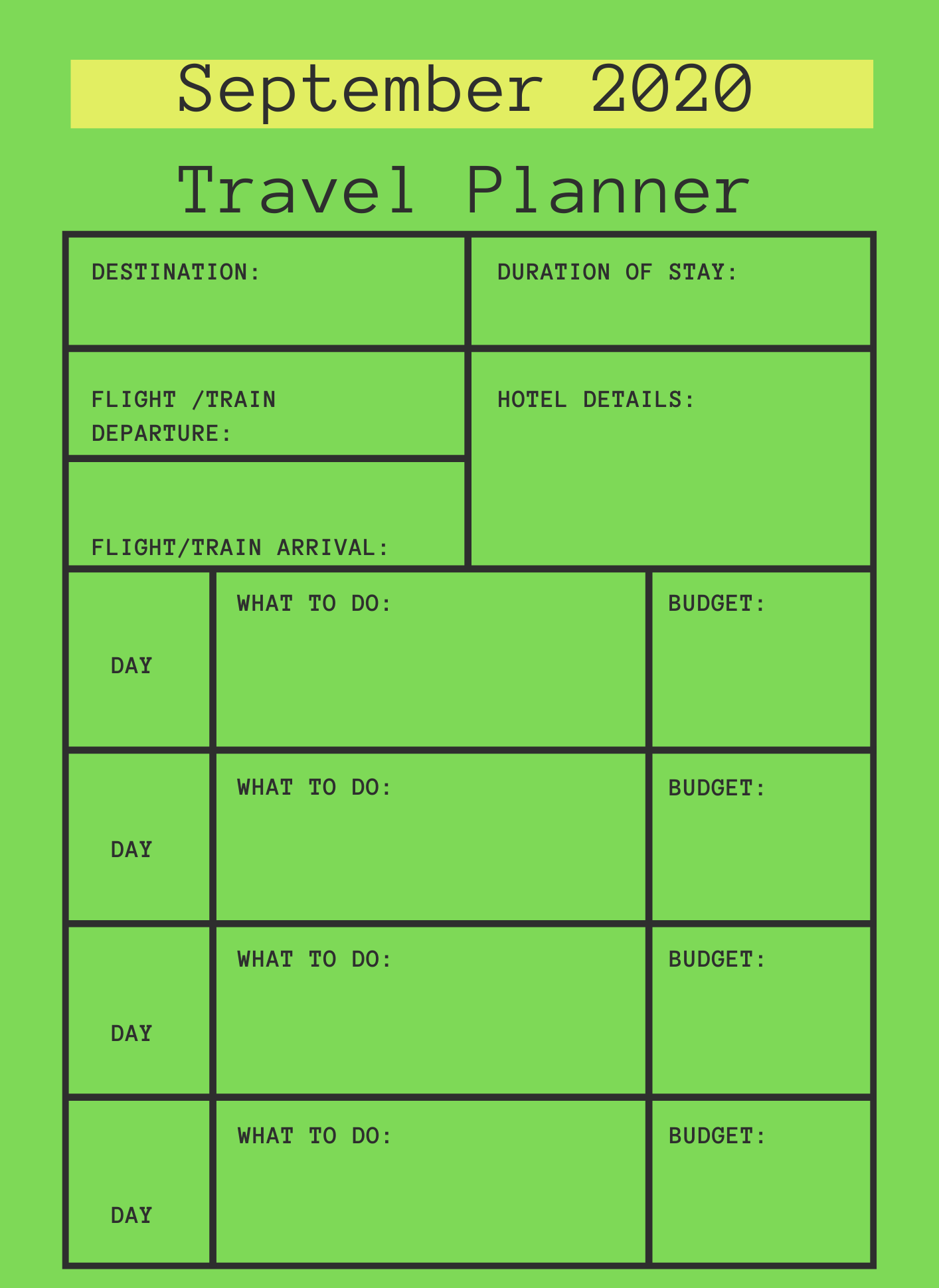 September 2020 Printable Travel Planner